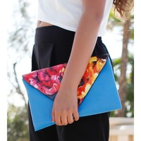 Floral Pattern Bright Blue Clutch