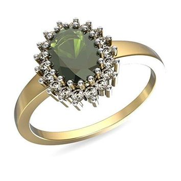 JewelsForum Women's Cocktail 14Kt Yellow Gold Hi I1/I2 0.18 Carats Round Cut Diamond And Emerald Rings 9.5