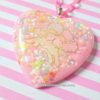 Pastel Pink Little Twin Stars Unicorn Resin Necklace