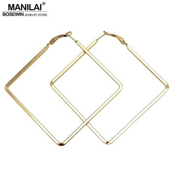 MANILAI Punk Style 60mm Big Metal Square Hoop Earrings For Women 2017 Fashion Jewelry Pendientes Boho Geometric Simple Earrings