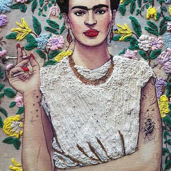 Frida Kahlo Artistic T shirt Fab Ceraolo Frida T-shirt Cool T shirt Painted