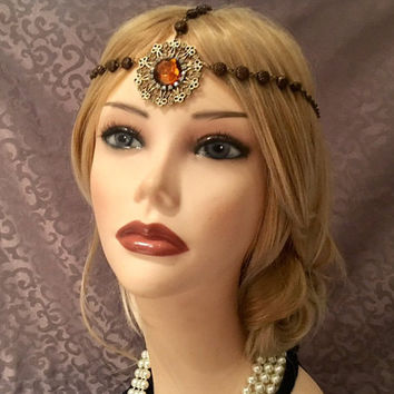 1920's style copper Brown Stone Rhinestone flapper headchain headband head piece 20s style headpiece head chain piece hair gatsby art deco