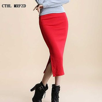 2017 Summer skirts Sexy Chic Pencil Skirts Women Skirt  Wool Rib Knit Long Skirt Package Hip Split  Waist midi skirt maxi