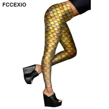 FCCEXIO Female Sexy Leggings 2017 New Shiny Mermaid Golden Fish Scale Digital Printed Leggings Stretch Smooth Fitness Jeggings
