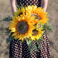 Large Rustic Yellow Sunflower Wedding Bouquet