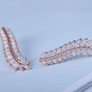 White Gold Plated,AAA Cubic Zircon,Leaf Earrings