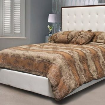 Throne collection white leather like upholstered and tufted with cherry wood trim upholstered queen bed set