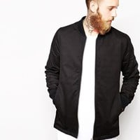 ASOS Long Line Bomber Jacket - Black
