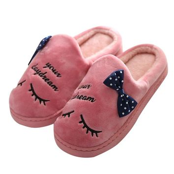 Sleeper #402 2019 NEW Women Warm Letter Plush Soft Slippers Indoors Anti-slip Floor Bedroom Shoes home low heel Free Shipping