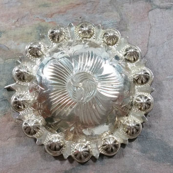 Vintage Mexico Sterling Silver Barrette Hair Accessory Bun Cover #1 Heavy Solid Silver for Thick Hair Round with Etchings Knobs Repurpose?