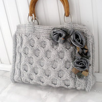 Gray knitted tote bag Spring office fashion Wedding handmade accessories Gift ideas Handbags bags purses