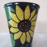 Pottery, hand painted planter,clay pot, pencil cup, small planter, hand painted pottery, teacher gift, office supply holder, home decor