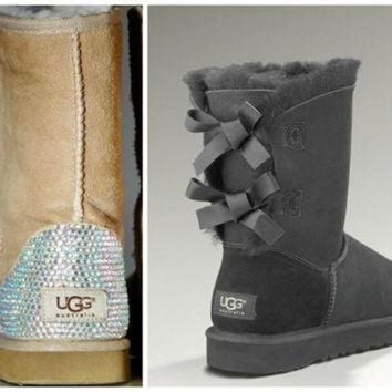 CUPUPS Swarovski Crystal Embellished Grey Bailey Bow Uggs - Winter / Holiday Bling UGGs 2013