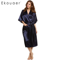 2016 Stylish Women Nightwear Robes Sleepwear Long Night Dress Gown Robe with Belt Silk Pajamas