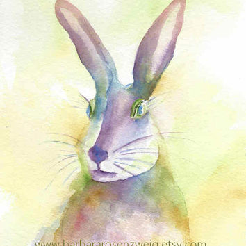 Colorful Mystical Magical Rainbow Bunny RABBIT Art PRINT Watercolor Painting Nursery Decor Gift Rabbit Home Wall Art Gift Barbara Rosenzweig