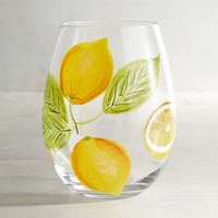 Citrus Lemon Painted Stemless Wine Glass