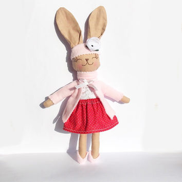 Easter Animal Stuffed Bunny Rabbit rag doll Stuffed Animal Plush Bunny toy handmade Animal Baby doll