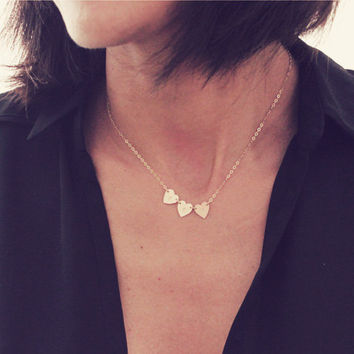 3 Heart Necklace / 14K Gold Heart Necklace / Three Initial Necklace / Tiny Heart Necklace / Mini Heart Necklace / Dainty Heart Necklace