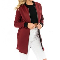Autumn High Quality Fashion Ladies Long Jackets Stand Collar Solid Brief Cardigan Jackets Coat Women Thin Slim Outwear Jackets