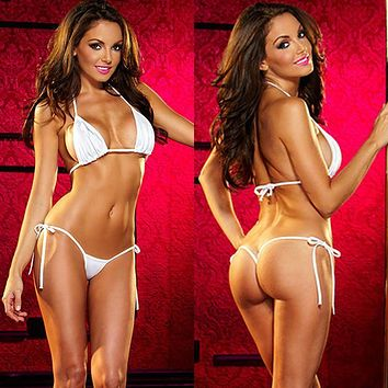 White Extreme Micro Triangle Top and Tie Side Thong G-String Bottom Set (Many colors available)