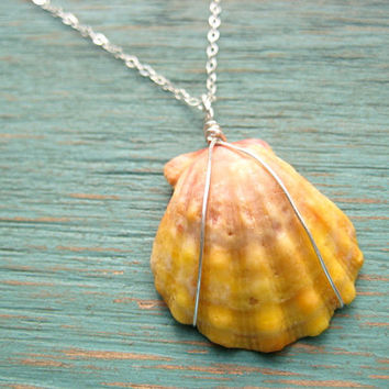 Sunrise Shell Necklace Sterling Silver, Hawaiian Shell Necklace, Surfer Girl Necklace, Beach Jewelry