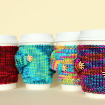 Four coffee cozies set. Buy four pay for three. Hand knit travel mug cozies. Gift idea. Multicolor cozy. Starbucks cup sleeve.