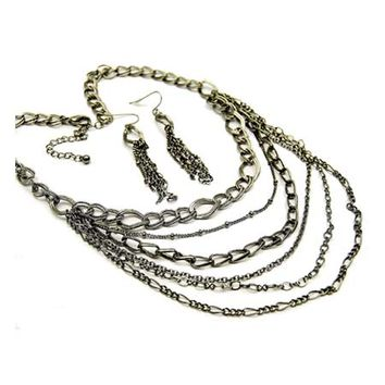 "Gia's 19"" Black Chain Multi Strand Necklace Set-Final Sale"