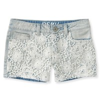 Kids' Crochet-Front Light Wash Denim Shorty Shorts