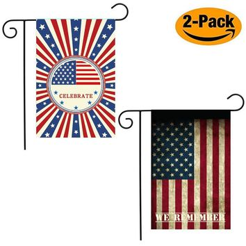 Shmbada July 4th American Flag, USA Stars and Stripes Patriotic Garden Flag, Outdoor Lawn Background Decoration Yard Flags for Memorial Day and USA Independence Day Set, 12 X 18 Inches 2 Pack