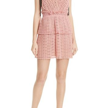 Self-Portrait Tie Strap Cutwork Organza Dress | Nordstrom