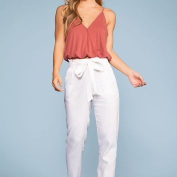 Evening Breeze Paperbag High Waisted Pants - White