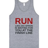 Zac Efron RUN Tank-Unisex Athletic Grey Tank