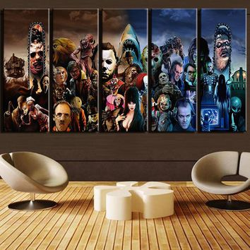 Horror Movie Characters Stars Wall Art Canvas 5 Panel - avail LARGE print