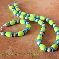 """Turquoise and Lime 24"""" Gemstone Statement Necklace from Rebecca Lee Design"""