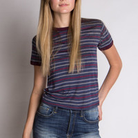 Navy and Burgundy Striped Crop Ringer Tee