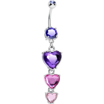 Purple Pink Gem Follow Your Heart Dangle Belly Ring | Body Candy Body Jewelry