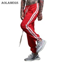 Aolamegs Harem Pants Side Striped Hit color Men Pants Elastic Waist Track Pants Trousers Mens  Fashion 2017 Joggers Sweatpants