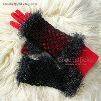 Black Crochet Mittens, Fingerless Gloves, Lace Hand warmers, Wrist Cuffs ,Gift for her, Women's Fashion Accessory