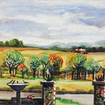 Texas Landscape Watercolor Painting by Ruby Palmo