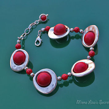 Red Galaxy Bracelet, Red Planet Bracelet, Red Howlite Bracelet, Red Mother's Day Bracelet, Red Jewelry, Mother's Day gift