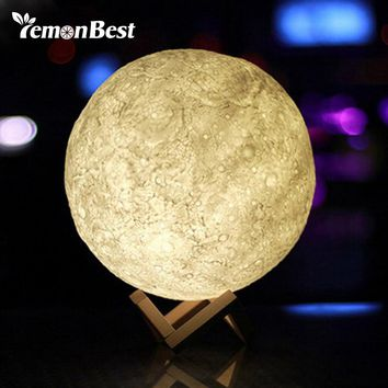 3D Magical Moon LED Night Light Moonlight Desk Lamp USB Rechargeable 3 Light Colors Stepless for Home Decoration Christmas