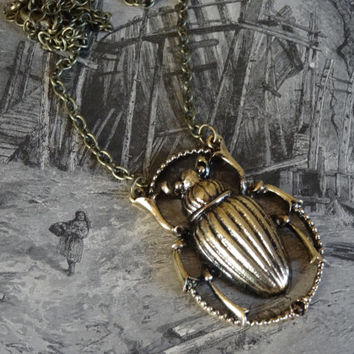 1- Scarab Beetle Necklace Bronze Insect Steampunk Vintage Style PeculiarCollective Finished Necklace