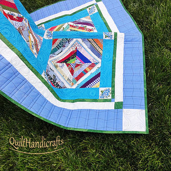 Quilted blanket for teen Patchwork  in blue colors Lap quilt is sewn in a classic style Personalized Bedding Gender neutral Noteworthy