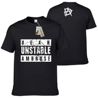 Hot Sleeve Dean Ambrose Summer t-shirts Casual Men UNSTABLE Short Sleeve T-Shirt O-Neck 100% cotton t shirt Free Shipping