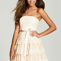 Lace and Mesh Tiered Dress