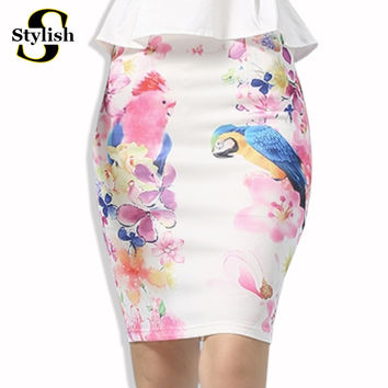 Summer Style Pencil Skirt Women high waist skirts womens vintage 2017 elegant bodycon floral bird print Midi Skirt Female 2017