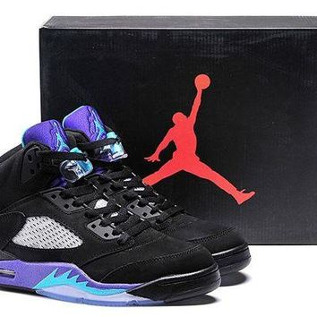 DCCKIJ2 Womens Mens Air Jordan 5 Retro High 136027-007 Basketball Black Purple