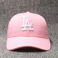 AMERICAN NEEDLE MLB Baseball LA Dodgers Dad Hat, Pink white logo