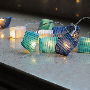 10 feet long ocean blue shaded oriental lantern string light cubic paper spring party bedroom patio bohemian style
