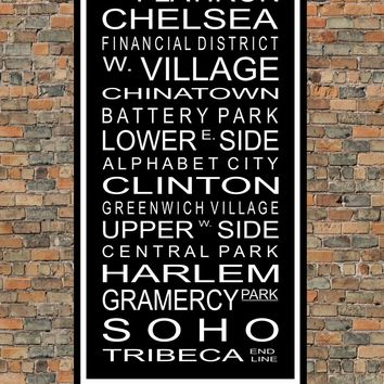 New York City Subway Sign Print - West Village, Greenwich Village, Harlem Soho, Tribeca - Multiple Sizes